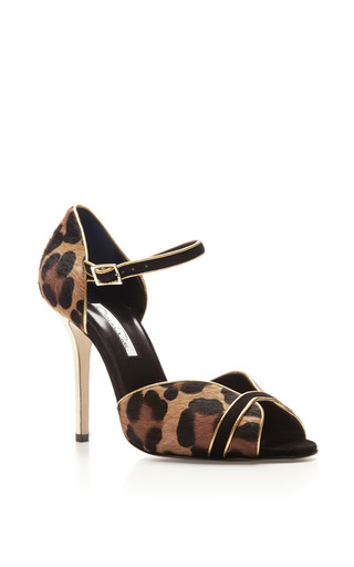 Christina Printed Calf Hair And Suede Sandals by OSCAR DE LA RENTA Now Available on Moda Operandi