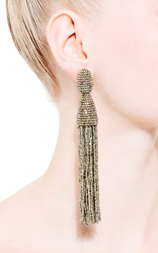 Long Tassel Earrings by OSCAR DE LA RENTA Now Available on Moda Operandi