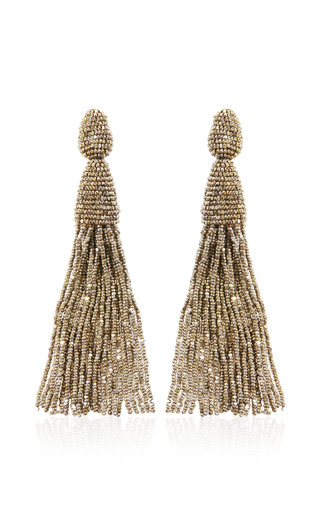 Medium oscar de la renta dark grey long tassel earring