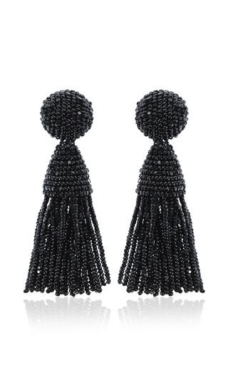 Medium oscar de la renta black short tassel earring
