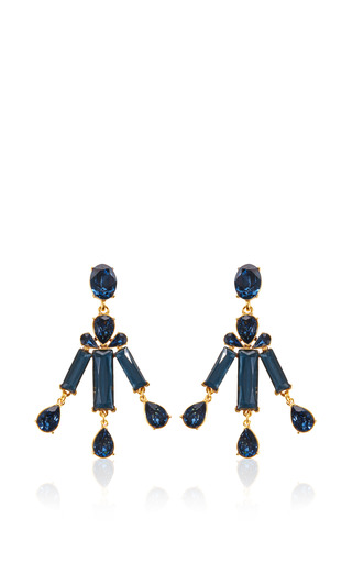 Medium oscar de la renta blue rectangular stone earring