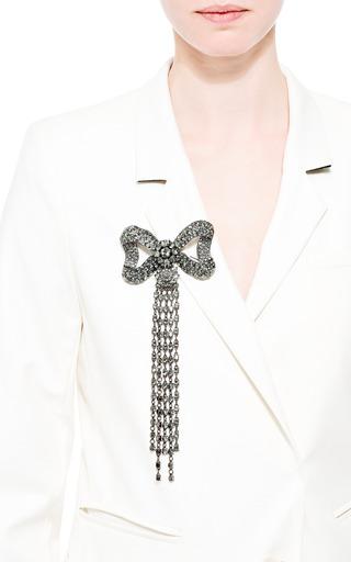 Bow Swarovski Crystal Brooch With Tassels by OSCAR DE LA RENTA Now Available on Moda Operandi