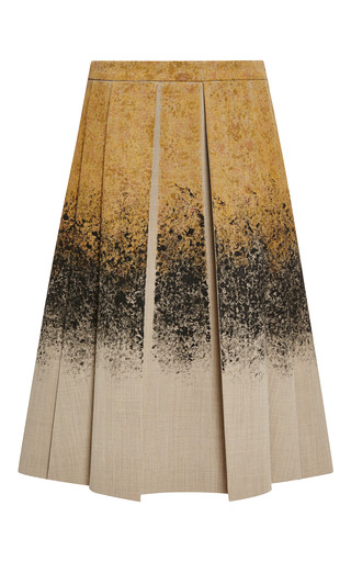 Medium derek lam 10 crosby brown spray painted neoprene box pleat skirt