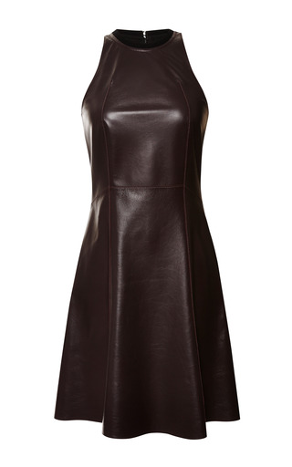 Medium derek lam 10 crosby red aubergine leather fit and flare dress