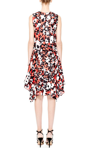 Floral Print Silk Twill V Neck Dress by MARNI Now Available on Moda Operandi