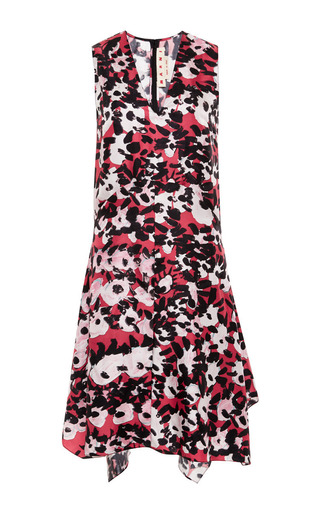 Medium marni red sleeveless v neck dress in printed silk twill