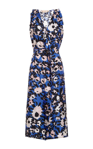 Medium marni blue cap sleeve dress in printed silk twill