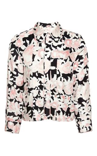 Medium marni pink long sleeve polo neck shirt in printed silk twill
