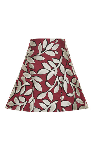 Medium marni red macro flower jacquard mini skirt