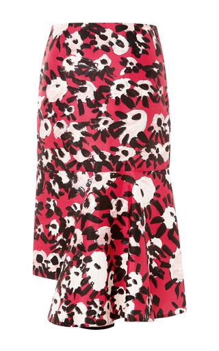 Medium marni red asymmetrical printed skirt