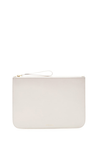 Medium mansur gavriel white large wallet in white with blu interior