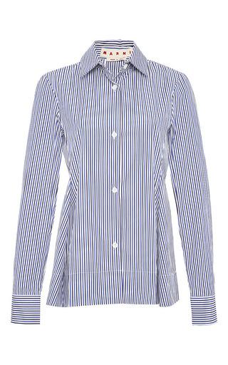 Medium marni blue long sleeve polo neck shirt