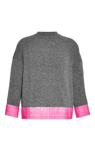 Medium marni dark grey long sleeve crew neck sweater with contrast hem