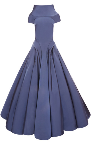 Medium zac posen dark grey runway faille gown