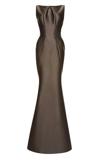 Medium zac posen dark grey stretch duchess gown 4