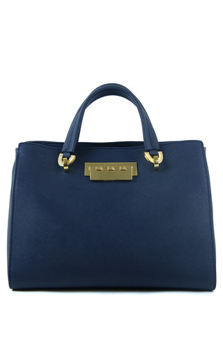 Medium zac zac posen blue eartha barrel satchel in chateau