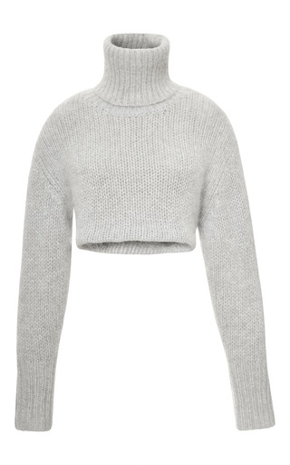 Medium dion lee white angora knit cropped sweater