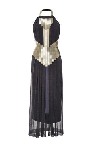 Medium dion lee blue jersey beaded neck halter dress