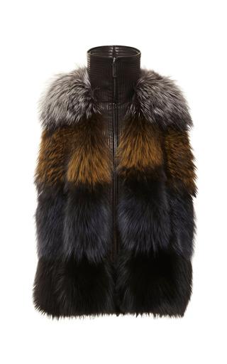 Medium j mendel multi multicolor silver fox cape with trapunto leather trim