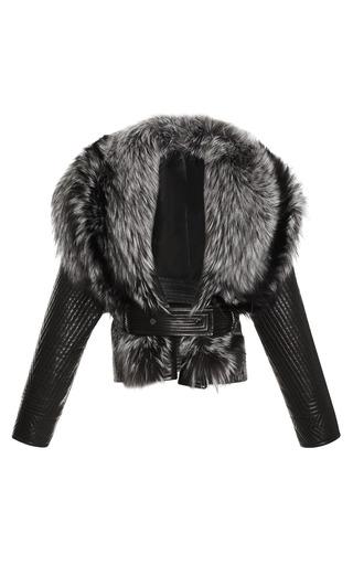 Medium j mendel brown wool jacket with leather trapunto sleeves