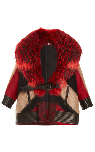 Medium j mendel red abstract plaid wool coat with finn raccoon collar