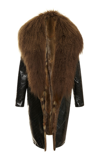 Medium j mendel green eel coat with mongolian lamb collar