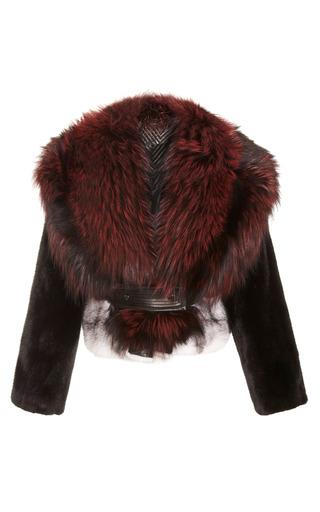 Medium j mendel black multicolor mink jacket with silver fox collar