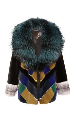 Medium j mendel multi plaid mink jacket with silver fox collar