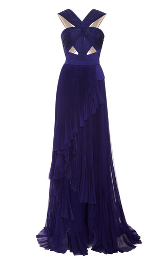 Medium j mendel blue halter neck gown with cut out bodice
