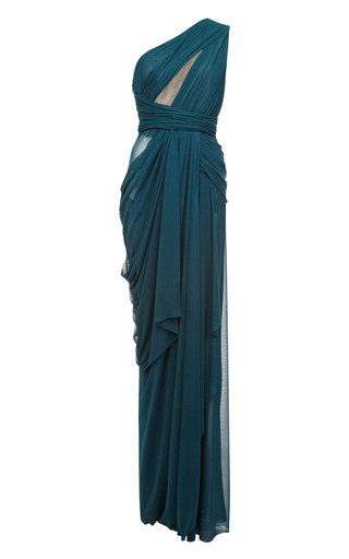 Medium j mendel green one shoulder draped gown with cut out bodice detail