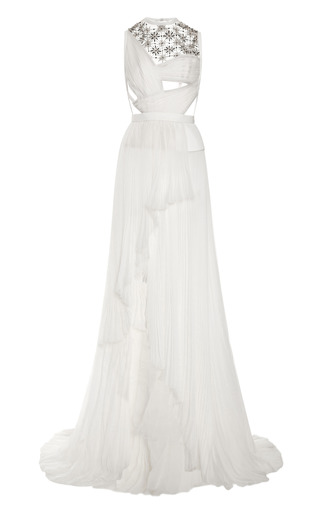 Medium j mendel ivory sleeveless gown with embroidered tulle insert