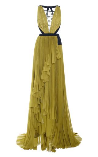 Medium j mendel ivory v neck gown with embroidered tulle insert
