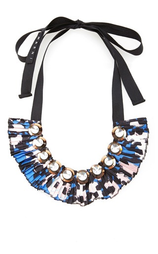 Medium marni blue fabric necklace