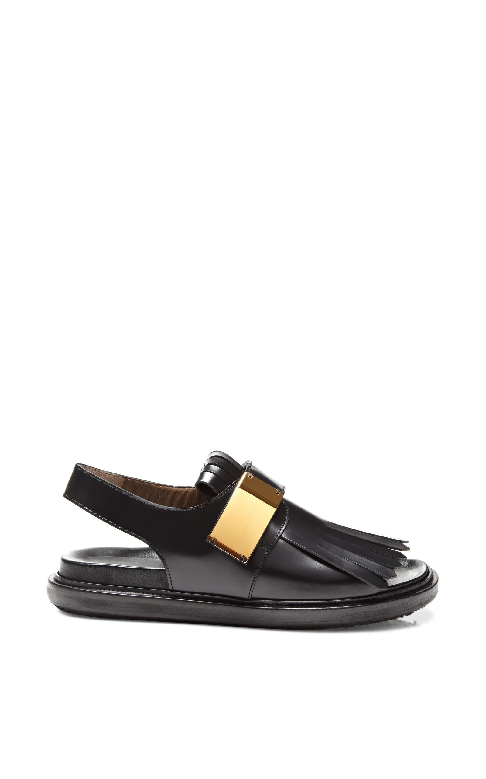 Fringed Leather Sandals By Marni Moda Operandi