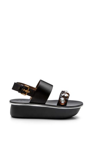 Medium marni black high wedge sandal
