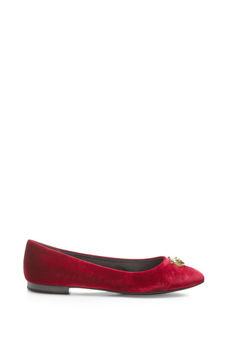 Medium kenzo red ballerinas with front gold tiger detail