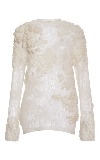 Medium delpozo white mohair sweater with bubbles