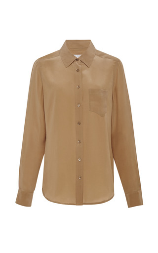 Medium equipment brown brett washed silk shirt