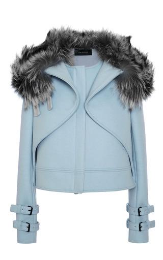 Medium wes gordon white felt and fox crossover jacket