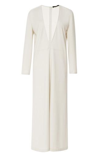 Medium wes gordon white silk jersey v plunge dress
