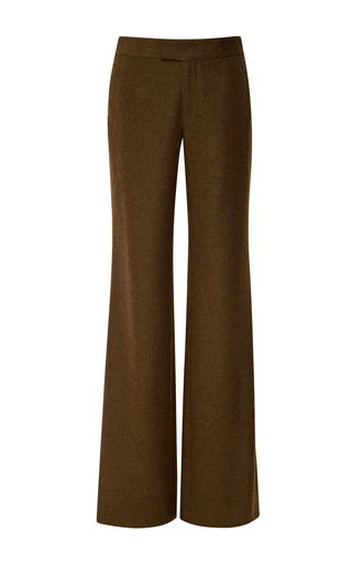 Medium wes gordon brown brushed wool classic straight leg trouser