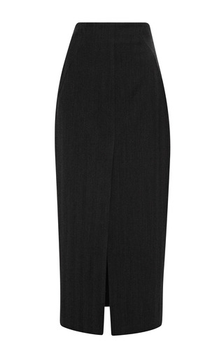 Medium wes gordon dark grey wool herringbone high waisted skirt