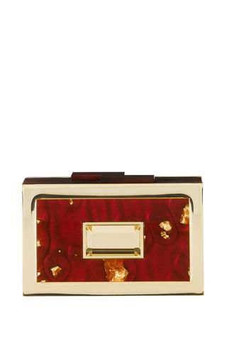 Medium rauwolf gold labryinth clutch in burgundy and gold