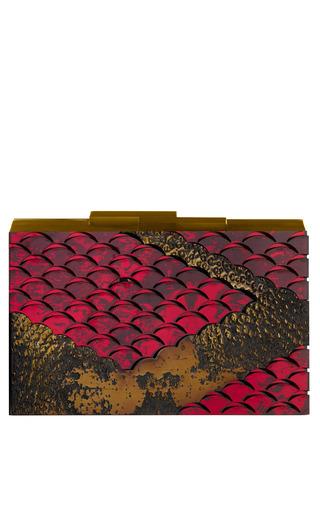 Medium rauwolf gold lindworm clutch in burgundy and gold