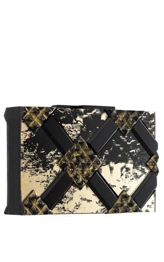 Spartan Clutch In Gold And Black Antique Mirror by RAUWOLF for Preorder on Moda Operandi