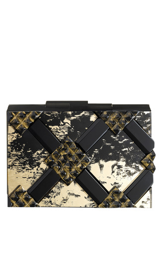 Spartan Clutch In Gold And Black Antique Mirror by RAUWOLF for Preorder on Moda Operandi