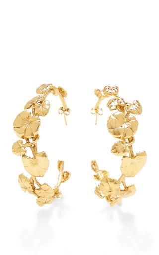 Nympheas 18 K Gold Plated Hoop Earrings by AURéLIE BIDERMANN Now Available on Moda Operandi