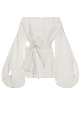 Medium rosie assoulin white belted fig sleeve top