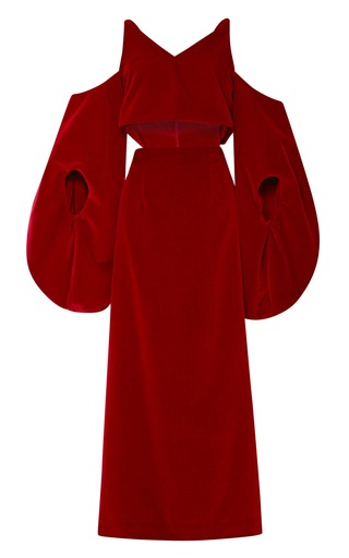 Medium rosie assoulin red fig sleeve dress