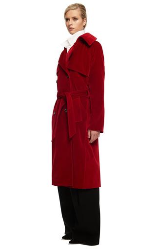 Red Velvet Trench Coat by ROSIE ASSOULIN for Preorder on Moda Operandi
